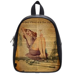 Vintage Newspaper Print Pin Up Girl Paris Eiffel Tower School Bag (small)