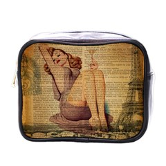 Vintage Newspaper Print Pin Up Girl Paris Eiffel Tower Mini Travel Toiletry Bag (One Side)