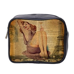 Vintage Newspaper Print Pin Up Girl Paris Eiffel Tower Mini Travel Toiletry Bag (Two Sides)