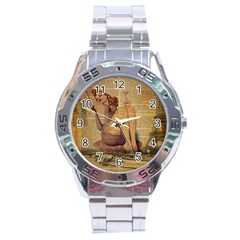 Vintage Newspaper Print Pin Up Girl Paris Eiffel Tower Stainless Steel Watch (Men s)