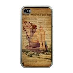Vintage Newspaper Print Pin Up Girl Paris Eiffel Tower Apple iPhone 4 Case (Clear)