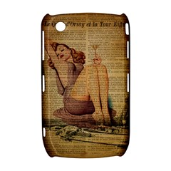 Vintage Newspaper Print Pin Up Girl Paris Eiffel Tower BlackBerry Curve 8520 9300 Hardshell Case