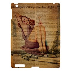 Vintage Newspaper Print Pin Up Girl Paris Eiffel Tower Apple Ipad 3/4 Hardshell Case