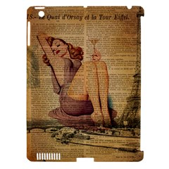 Vintage Newspaper Print Pin Up Girl Paris Eiffel Tower Apple Ipad 3/4 Hardshell Case (compatible With Smart Cover)