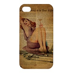 Vintage Newspaper Print Pin Up Girl Paris Eiffel Tower Apple iPhone 4/4S Premium Hardshell Case