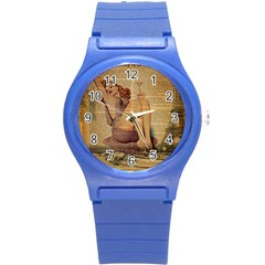 Vintage Newspaper Print Pin Up Girl Paris Eiffel Tower Plastic Sport Watch (small)