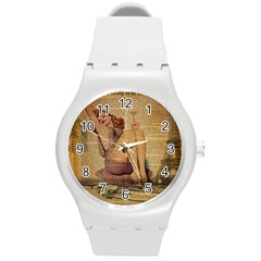 Vintage Newspaper Print Pin Up Girl Paris Eiffel Tower Plastic Sport Watch (medium)
