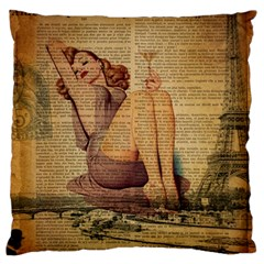 Vintage Newspaper Print Pin Up Girl Paris Eiffel Tower Large Cushion Case (single Sided)