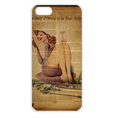 Vintage Newspaper Print Pin Up Girl Paris Eiffel Tower Apple iPhone 5 Seamless Case (White)