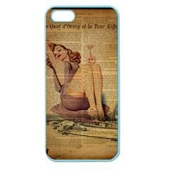 Vintage Newspaper Print Pin Up Girl Paris Eiffel Tower Apple Seamless iPhone 5 Case (Color)