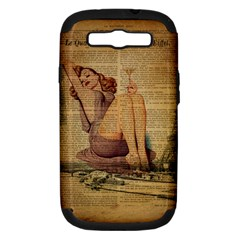 Vintage Newspaper Print Pin Up Girl Paris Eiffel Tower Samsung Galaxy S III Hardshell Case (PC+Silicone)