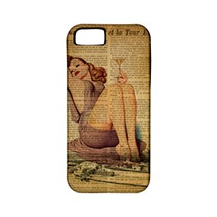 Vintage Newspaper Print Pin Up Girl Paris Eiffel Tower Apple iPhone 5 Classic Hardshell Case (PC+Silicone)