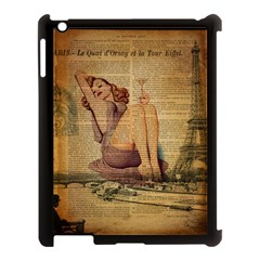 Vintage Newspaper Print Pin Up Girl Paris Eiffel Tower Apple Ipad 3/4 Case (black)