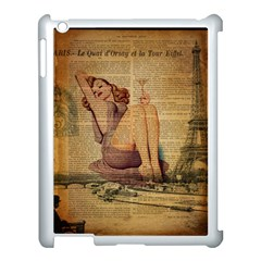 Vintage Newspaper Print Pin Up Girl Paris Eiffel Tower Apple Ipad 3/4 Case (white)