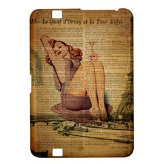 Vintage Newspaper Print Pin Up Girl Paris Eiffel Tower Kindle Fire Hd 8 9  Hardshell Case