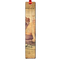 Vintage Newspaper Print Pin Up Girl Paris Eiffel Tower Large Bookmark