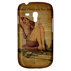 Vintage Newspaper Print Pin Up Girl Paris Eiffel Tower Samsung Galaxy S3 Mini I8190 Hardshell Case