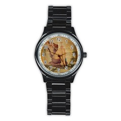 Vintage Newspaper Print Pin Up Girl Paris Eiffel Tower Sport Metal Watch (black)
