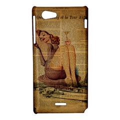 Vintage Newspaper Print Pin Up Girl Paris Eiffel Tower Sony Xperia J Hardshell Case