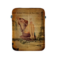 Vintage Newspaper Print Pin Up Girl Paris Eiffel Tower Apple iPad 2/3/4 Protective Soft Case