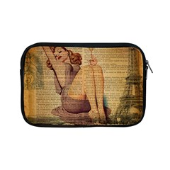 Vintage Newspaper Print Pin Up Girl Paris Eiffel Tower Apple iPad Mini Zipper Case