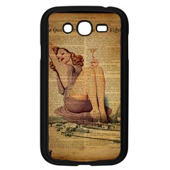 Vintage Newspaper Print Pin Up Girl Paris Eiffel Tower Samsung I9082(galaxy Grand Duos)(black)