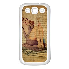 Vintage Newspaper Print Pin Up Girl Paris Eiffel Tower Samsung Galaxy S3 Back Case (White)