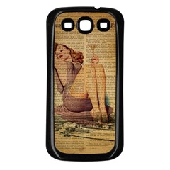 Vintage Newspaper Print Pin Up Girl Paris Eiffel Tower Samsung Galaxy S3 Back Case (Black)