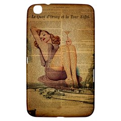 Vintage Newspaper Print Pin Up Girl Paris Eiffel Tower Samsung Galaxy Tab 3 (8 ) T3100 Hardshell Case