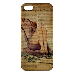 Vintage Newspaper Print Pin Up Girl Paris Eiffel Tower Iphone 5s Premium Hardshell Case