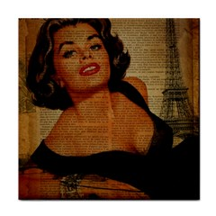 Vintage Newspaper Print Pin Up Girl Paris Eiffel Tower Ceramic Tile