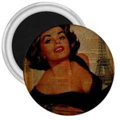 Vintage Newspaper Print Pin Up Girl Paris Eiffel Tower 3  Button Magnet