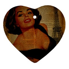 Vintage Newspaper Print Pin Up Girl Paris Eiffel Tower Heart Ornament
