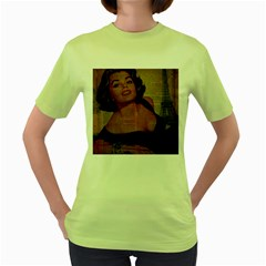 Vintage Newspaper Print Pin Up Girl Paris Eiffel Tower Womens  T Shirt (green)
