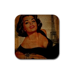 Vintage Newspaper Print Pin Up Girl Paris Eiffel Tower Drink Coasters 4 Pack (Square)