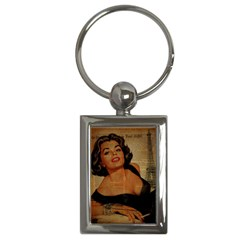 Vintage Newspaper Print Pin Up Girl Paris Eiffel Tower Key Chain (Rectangle)