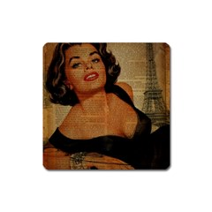 Vintage Newspaper Print Pin Up Girl Paris Eiffel Tower Magnet (square)