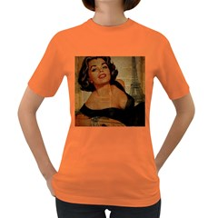Vintage Newspaper Print Pin Up Girl Paris Eiffel Tower Womens' T-shirt (Colored)
