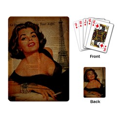 Vintage Newspaper Print Pin Up Girl Paris Eiffel Tower Playing Cards Single Design