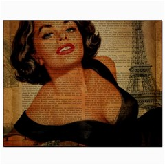 Vintage Newspaper Print Pin Up Girl Paris Eiffel Tower Canvas 8  x 10  (Unframed)