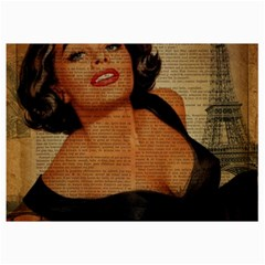 Vintage Newspaper Print Pin Up Girl Paris Eiffel Tower Canvas 12  x 18  (Unframed)