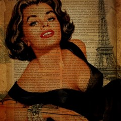 Vintage Newspaper Print Pin Up Girl Paris Eiffel Tower Canvas 16  x 16  (Unframed)