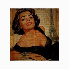 Vintage Newspaper Print Pin Up Girl Paris Eiffel Tower Canvas 18  x 24  (Unframed)