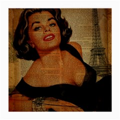 Vintage Newspaper Print Pin Up Girl Paris Eiffel Tower Glasses Cloth (medium, Two Sided)
