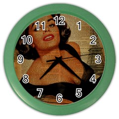 Vintage Newspaper Print Pin Up Girl Paris Eiffel Tower Wall Clock (Color)