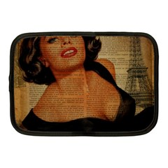 Vintage Newspaper Print Pin Up Girl Paris Eiffel Tower Netbook Case (medium)