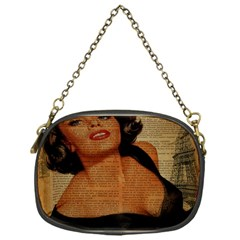 Vintage Newspaper Print Pin Up Girl Paris Eiffel Tower Chain Purse (One Side)