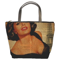 Vintage Newspaper Print Pin Up Girl Paris Eiffel Tower Bucket Bag