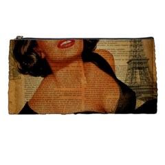 Vintage Newspaper Print Pin Up Girl Paris Eiffel Tower Pencil Case