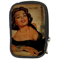 Vintage Newspaper Print Pin Up Girl Paris Eiffel Tower Compact Camera Leather Case